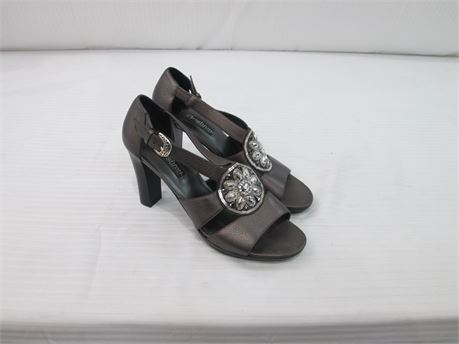 Brighton Womens Leather High Heel  Size 9M Pewter