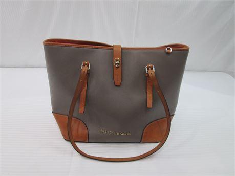 Dooney & Bourke Womens Leather Handbag #J11120508 Grey with Tan Trim