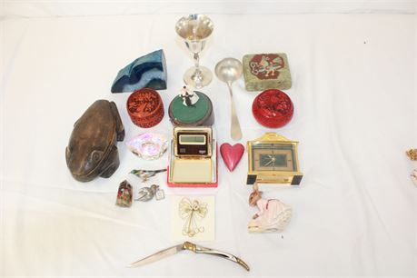 Vintage Junk Drawer Lot Wood Metal Figurines Collectible & More