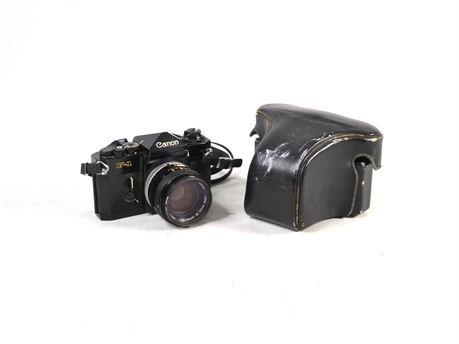 Canon F-1 F1 35mm Film Camera Black Body w/Canon 50mm F1.4 SSC Lens + Case