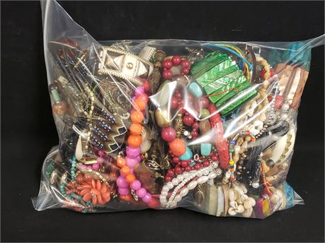 Lot Of Mixed Quick Sorted Costume Jewelry. 10 Lbs. 10.5 oz. W/ Bag