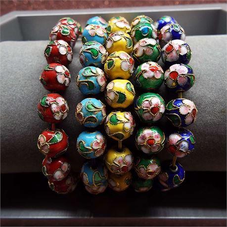 5 Hand Painted Multi-Colored  Floral Design Retractable Bracelets