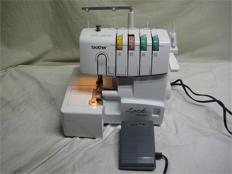 Brother Lock 1034D Serger Sewing Machine W/ Foot Pedal