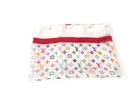 "Vintage Louis Vuitton Monogram 100% Silk Scarf, Square 38 "" x 38"""