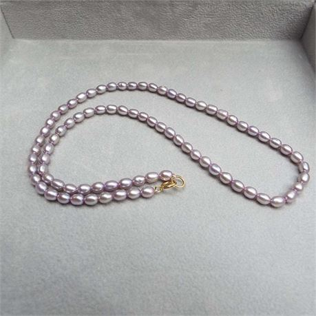 """16"""" Purple/Grey Pearl Necklace With 14kt Gold Clasp"""