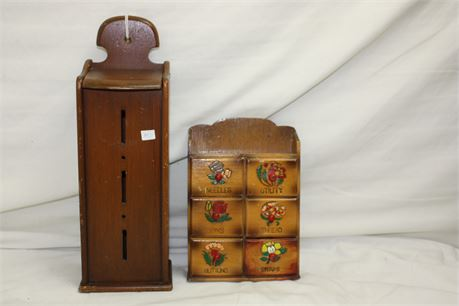 Vintage Cigarette Pack Dispenser and Sewing Supply Wall Hangers