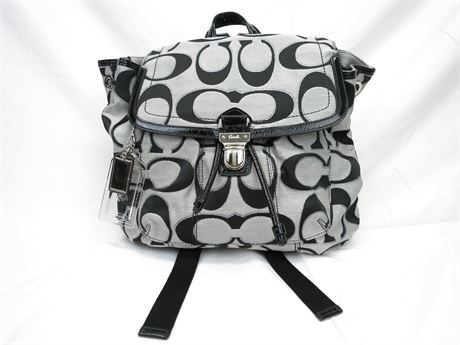 Coach Signature Poppy Gray Jacquard Lurex Flap Moonlight Backpack