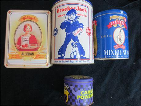 1990s Kellogs All Bran, Cracker Jacks, Mr. Peanuts and Smokin Joes Racing Tins
