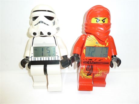 2 Lego 2010 Alarm Clocks: Star Wars & Ninjago (Working) Pre-Owned