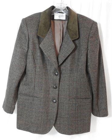 Vintage International Scene Women's Wool & Suede Blazer Size 14 (579)