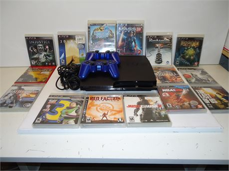 Lot Of PS3 1 Console,2 Controllers And 15 Games Pre-Owned