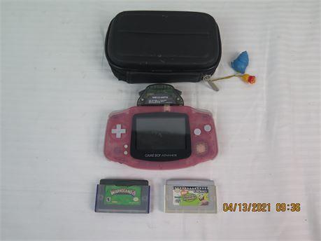 Nintendo Game Boy Advance AGB-001 Atomic Pink Handheld System w/ Game, Video