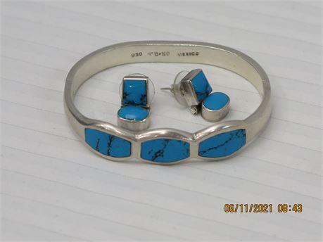 950 Sterling Silver Southwestern/Navajo Bracelet & Earrings Set - 45.83g (670)