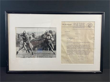 Framed 1947 Los Angeles Rams Head Scout Letter + Picture