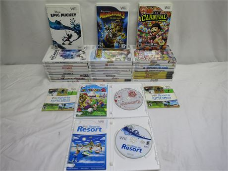 Lot Of 31 Excellent Nintendo Wii Video Games Complete With Manuals