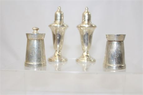 Vintage Weighted Sterling Silver 4 Salt Pepper Shakers 356 g