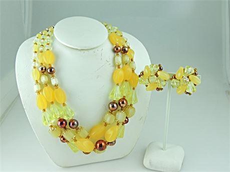 Vintage Germany Demi-Parure Beaded Necklace & Clip Earring Set (579-J)