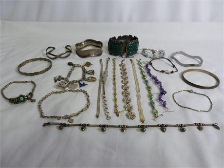 925 Silver (Sterling Silver) Bracelet Lot