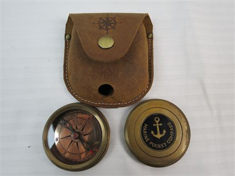 Neovivid Brass Marine Pocket Compass with Leather Holder (670)