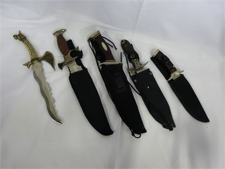 Lot of 5 Large Knives