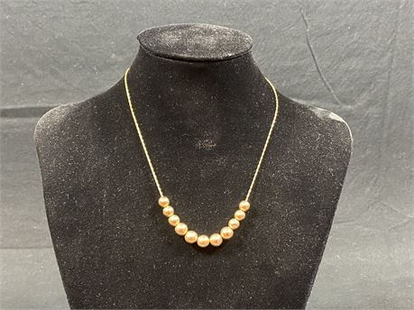14k Gold Beaded Necklace (Tested)