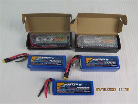 Lot of 3 Zippy 5000mAh Li-Po Batteries & 2 x Turnigy 5000mAh Li-Po Batteries