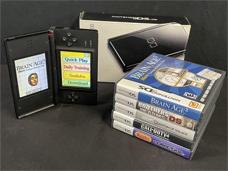 Nintendo DS Lite Bundle #1, Console + 5 Games