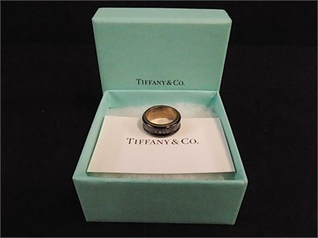 Tiffany & Co. Sterling Silver & Black Titanium 1837 Ring