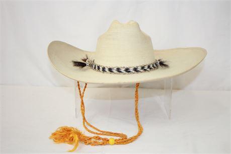 """FidePal Sombrero 21"""" Sahuayo Mexico Wide Brim Straw Hat Size 7"""