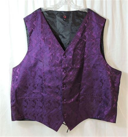 Q Brand Men's Size 5XL Purple Paisley Dress Vest Designed Italy (579)