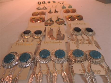 Lot Of Tribal Inspired Earring Sets Some Sterling Silver/Abalone/18 Pair