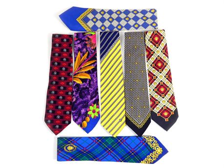 Lot of 7 Versace Silk Ties Various Colors and Patterns #2