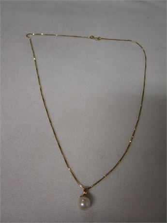 14 Karat Yellow Gold Pearl Necklace 2.03 Grams - Tested w/ JSP