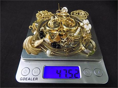 14K Gold Jewelry Lot with Stones; Wearable + Scrap; 47.52 grams