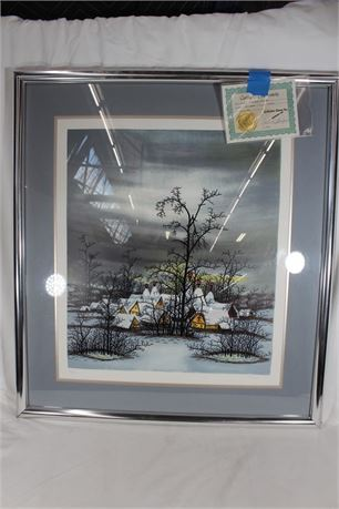 """""""Winter Village"""" Framed Serigraph by Laszlo, #146 out of 350, Authenticated"""
