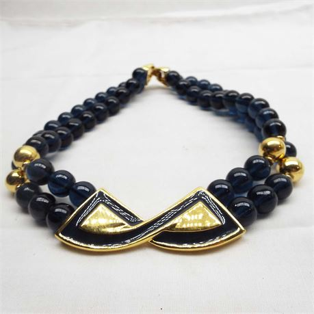 NAPIER Blue Beaded And Gold Tone Statement Necklace