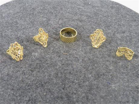 Lot of 5 Gold Tone Rings (230-LV4UU)