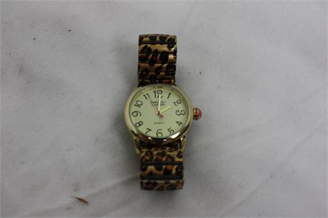 Embassy by Gruen Watch with Metal Stretch Leopard Print Band
