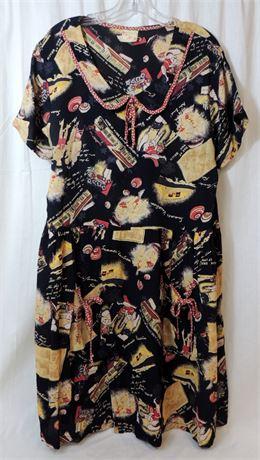 Vtg Romeo Romeo 100% Rayon Semi-Sheer Beach Theme S/S Dress (579)