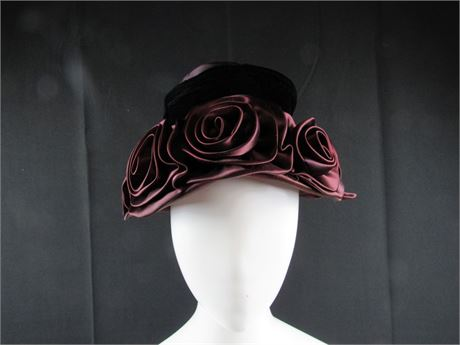 Cloche Burgundy Satin Hat Surrounded by Roses 2 (650)