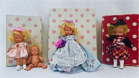 4 Vtg Nancy Ann Story Book Dolls #159, #38, #89 and Bisque Baby w/Star Hands