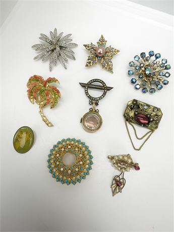 Lot of 9 Vintage Brooches/Pins