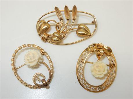 Three 12K GF Winard Brooches Pins