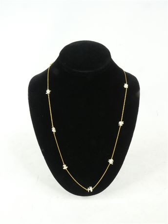 14 K Yellow Gold Necklace w/ Small Baroque Pearls 3 Grams, 24""