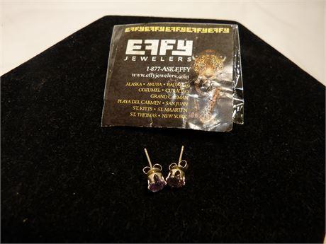Pastel Purple Diamond Earrings by EFFY