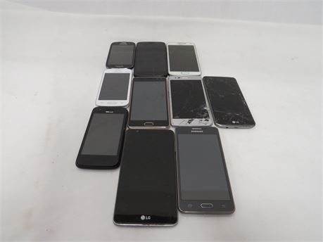 Lot of 10 Android Smartphone for Parts or Repair