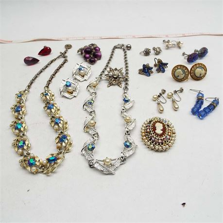Lot Of Screw Back Earrings & Necklaces Vintage Cameos Too
