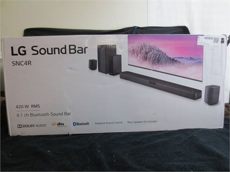 New In Box LG SNCR4 4.1 Channel Sound Bar with Rear Surround Speakers