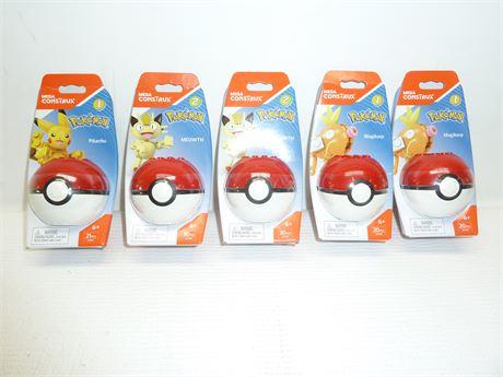 Mega Construx,Pokemon:Pikachu,Meowth & Magikarp 5 Total NIB