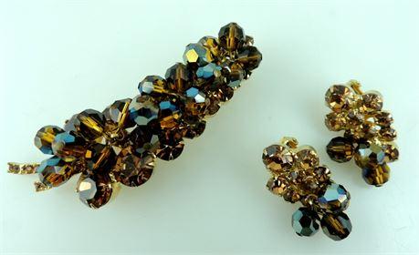 Vintage Juliana D&E Brown & Amber Rhinestone Brooch & Clip Earring Set (589-J)